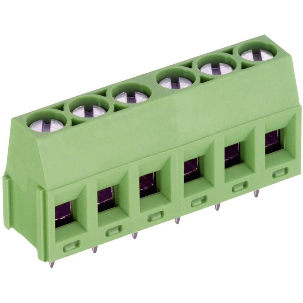 Skrueklemmeblok PTR AKZ350/7-5.08-V 1.50 mm² Poltal 7 Grøn 1 stk