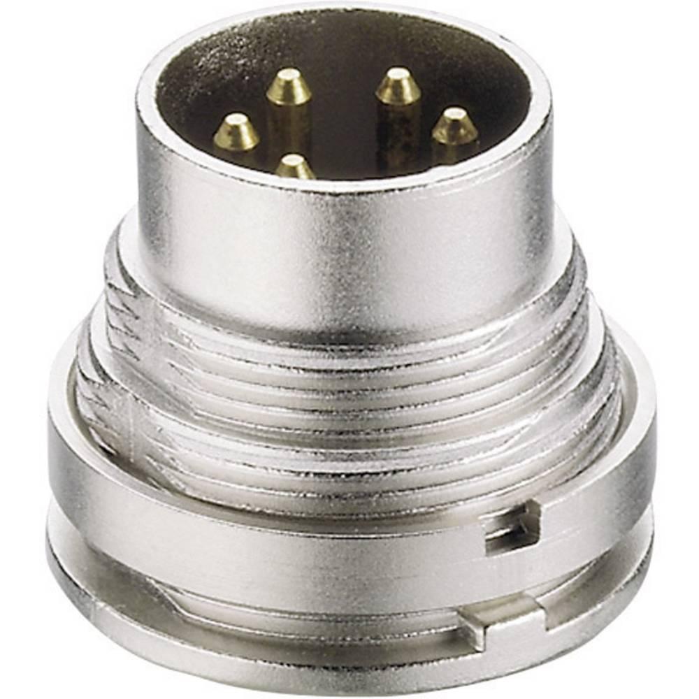 Lumberg SGV 60-Okrogli DIN vtič, za vertikalno vgradnjo, število polov: 6, srebrn, 1 kos