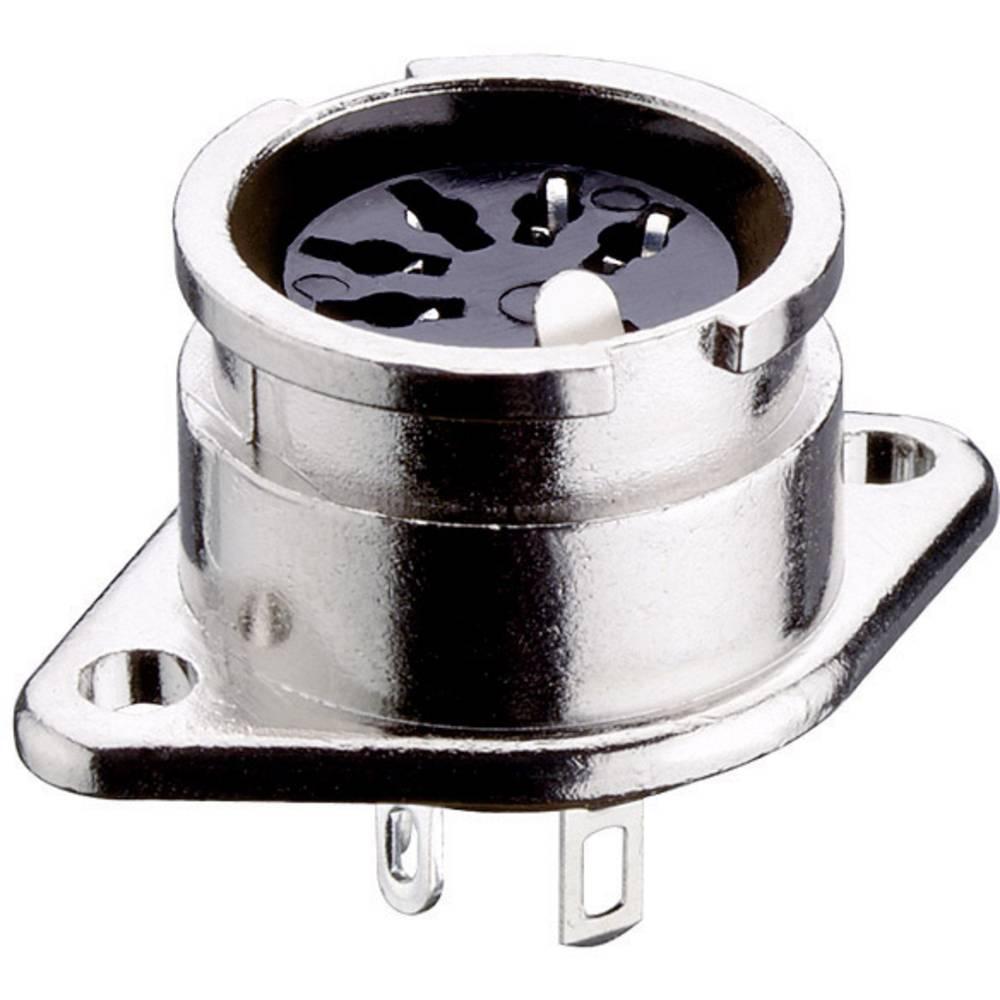 DIN- okrogli ženski konektor s prirobnico in kontakti raven št.polov: 8 srebrn Lumberg 0107 08-1 1 kos