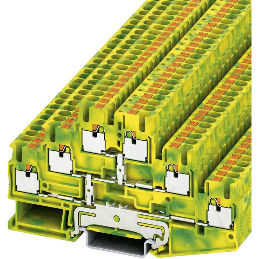 Push-i tre-niveau beskyttelsesleder terminal PT-PE Phoenix Contact PT 2,5-3PE Grøn-gul 1 stk
