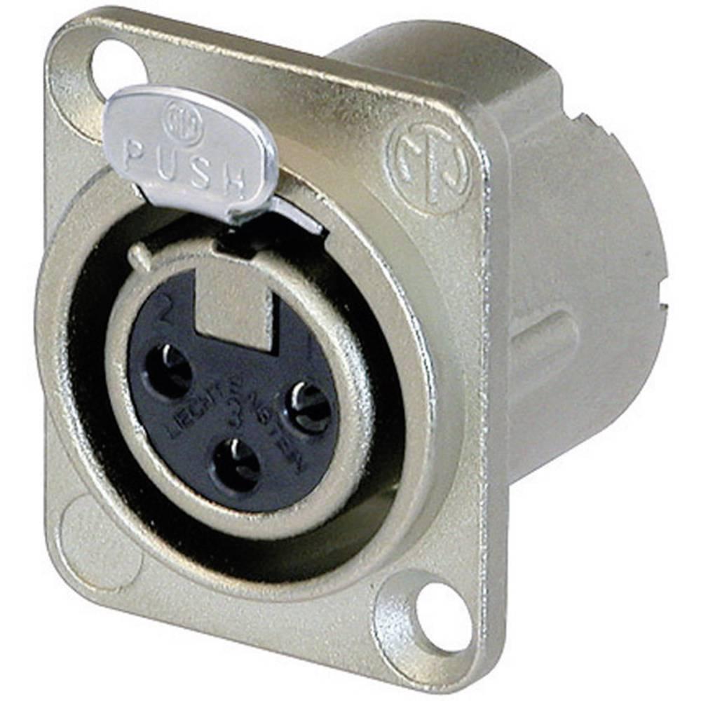 Neutrik NC3FD-LX-Konektor za prirobnico XLR, ravni kontakti, število polov: 3, srebrn, 1 kos