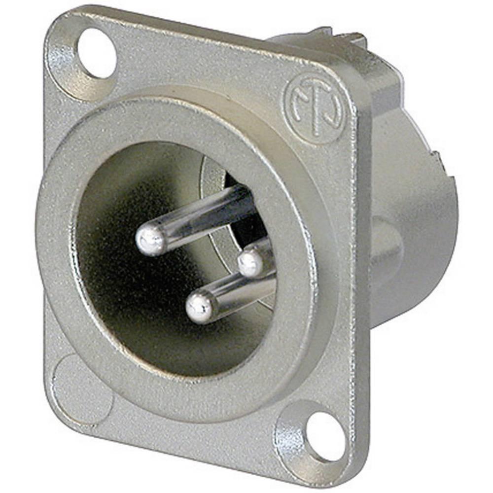Neutrik NC3MD-LX-Konektor XLR za prirobnico, moški, ravni kontakti, število polov: 3, srebrn, 1 kos