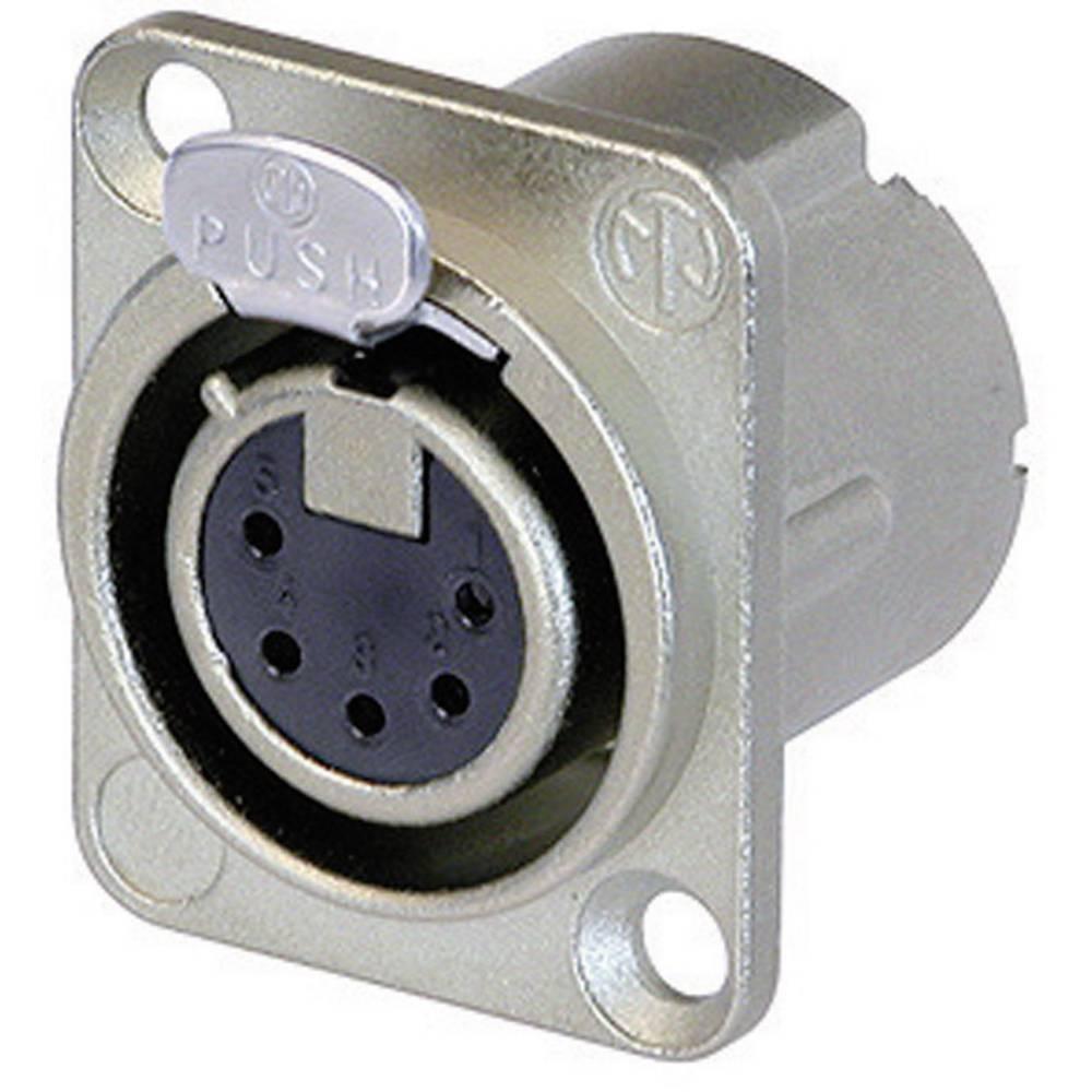 Neutrik NC5FD-LX-Konektor za prirobnico XLR, ravni kontakti, število polov: 5, srebrn, 1 kos