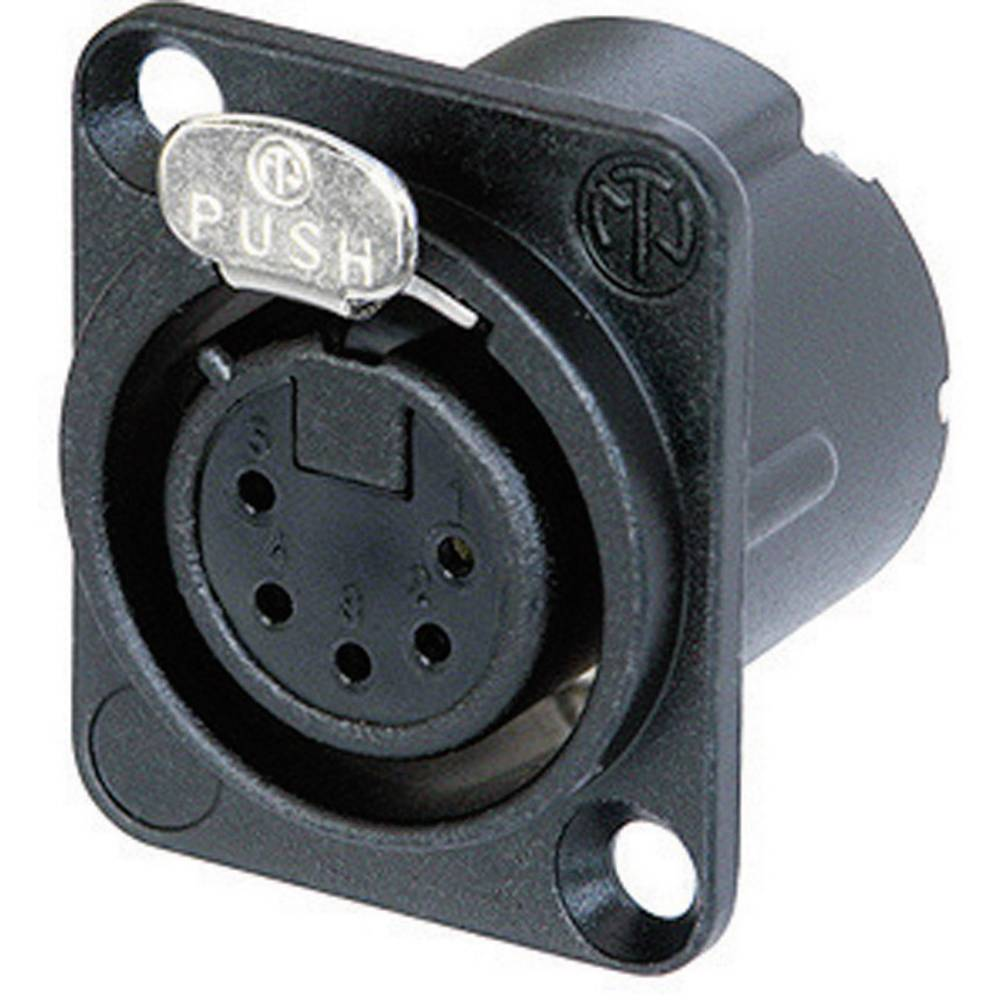 Neutrik NC5FD-LX-B-Konektor za prirobnico XLR, ravni kontakti, število polov: 5, črn, 1 kos