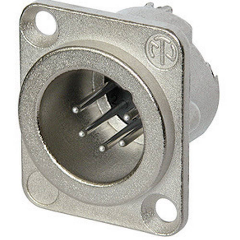 Neutrik NC5MD-LX-Konektor XLR za prirobnico, moški, ravni kontakti, število polov: 5, srebrn, 1 kos