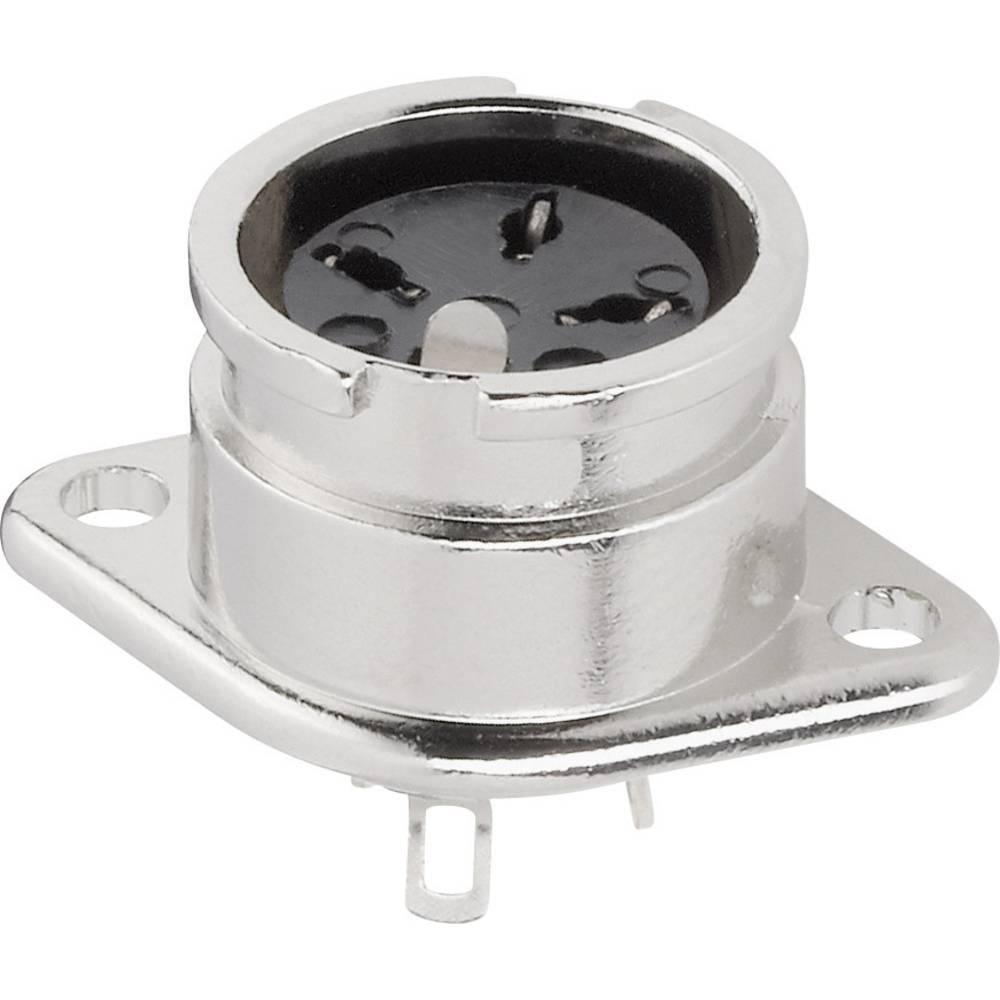 DIN-okrogli vtični konektor za prirobno vtičnico, ravni kontakti, število polov: 3 srebrne barve BKL Electronic 0202015 1 kos