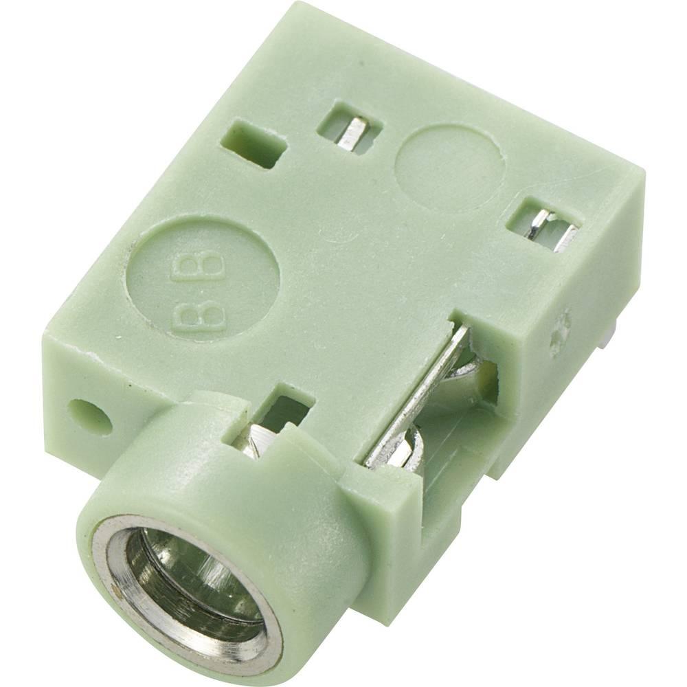 JACK vtičnica, 3.5mm, za horizontalno vgradnjo, število polov: 3/stereo, zelena, 1 kos