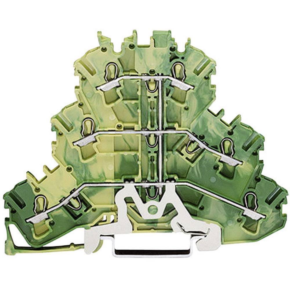 Tre-niveau terminal blok med beskyttelsesleder Grøn-gul WAGO 1 stk