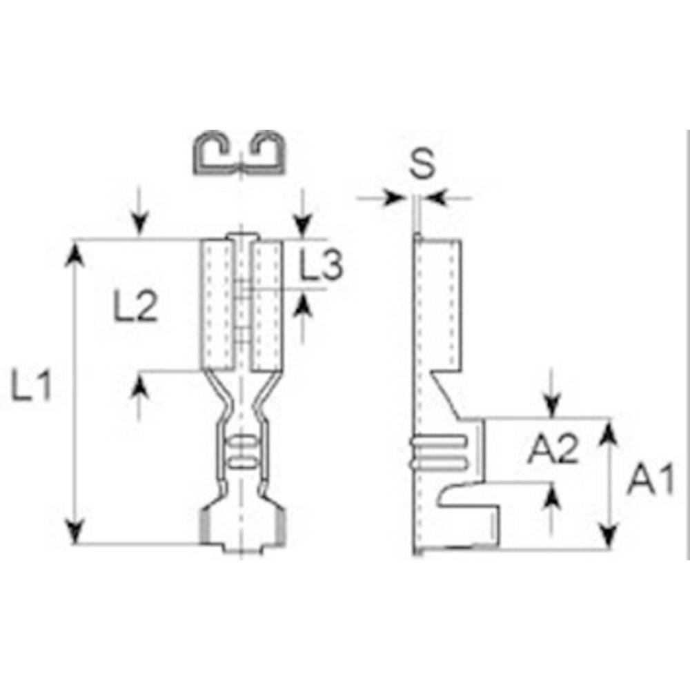 Ploski vtični rokav , širina vtiča: 2.8 mm, debelina vtiča:: 0.8 mm 180 ° neizoliran, iz železa Vogt Verbindungstechnik 3767.67 1 kos