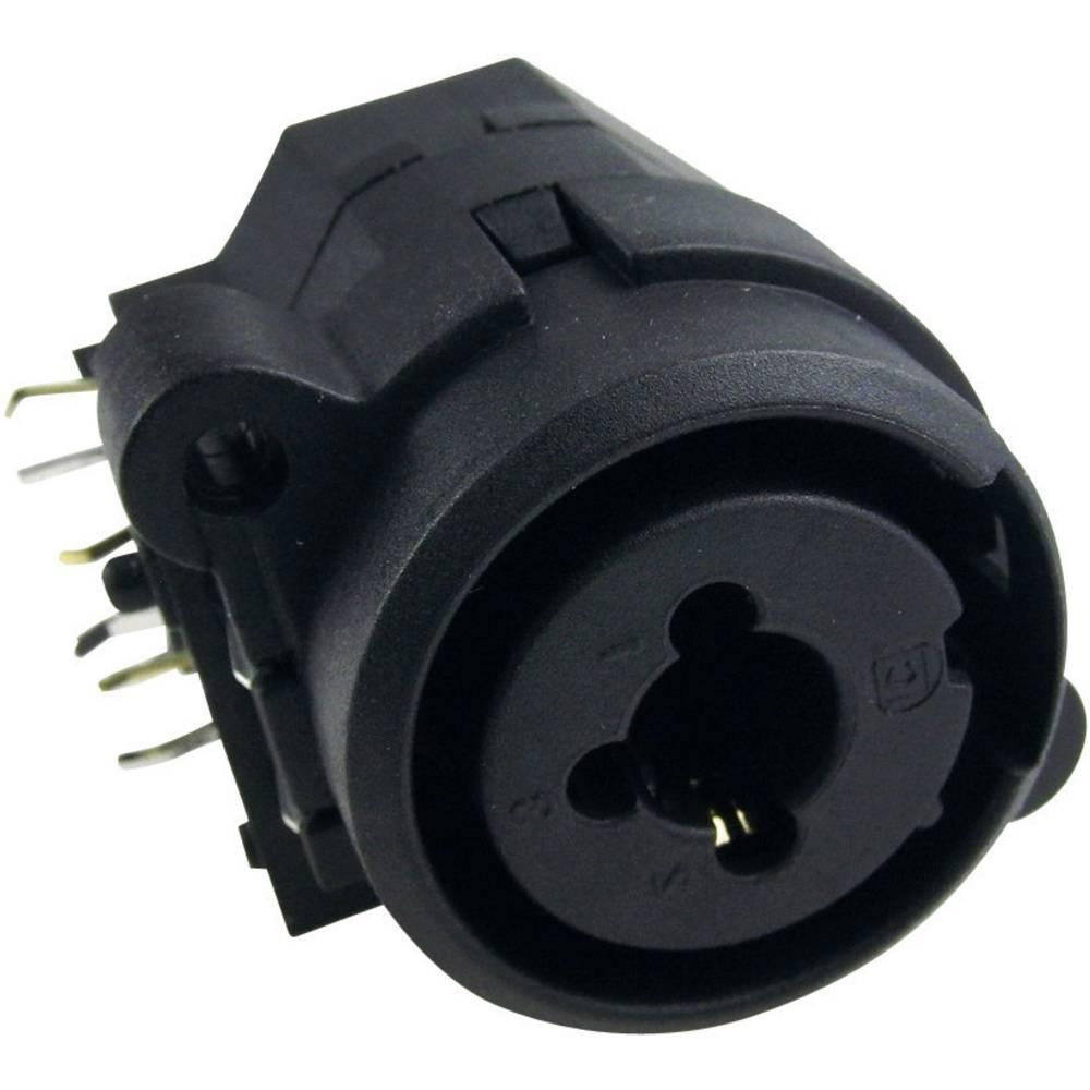 Cliff FC2410-Vgradni konektor XLR, ženski, kombiniran, za horizontalno vgradnjo, število polov: 3, črn, 1 kos