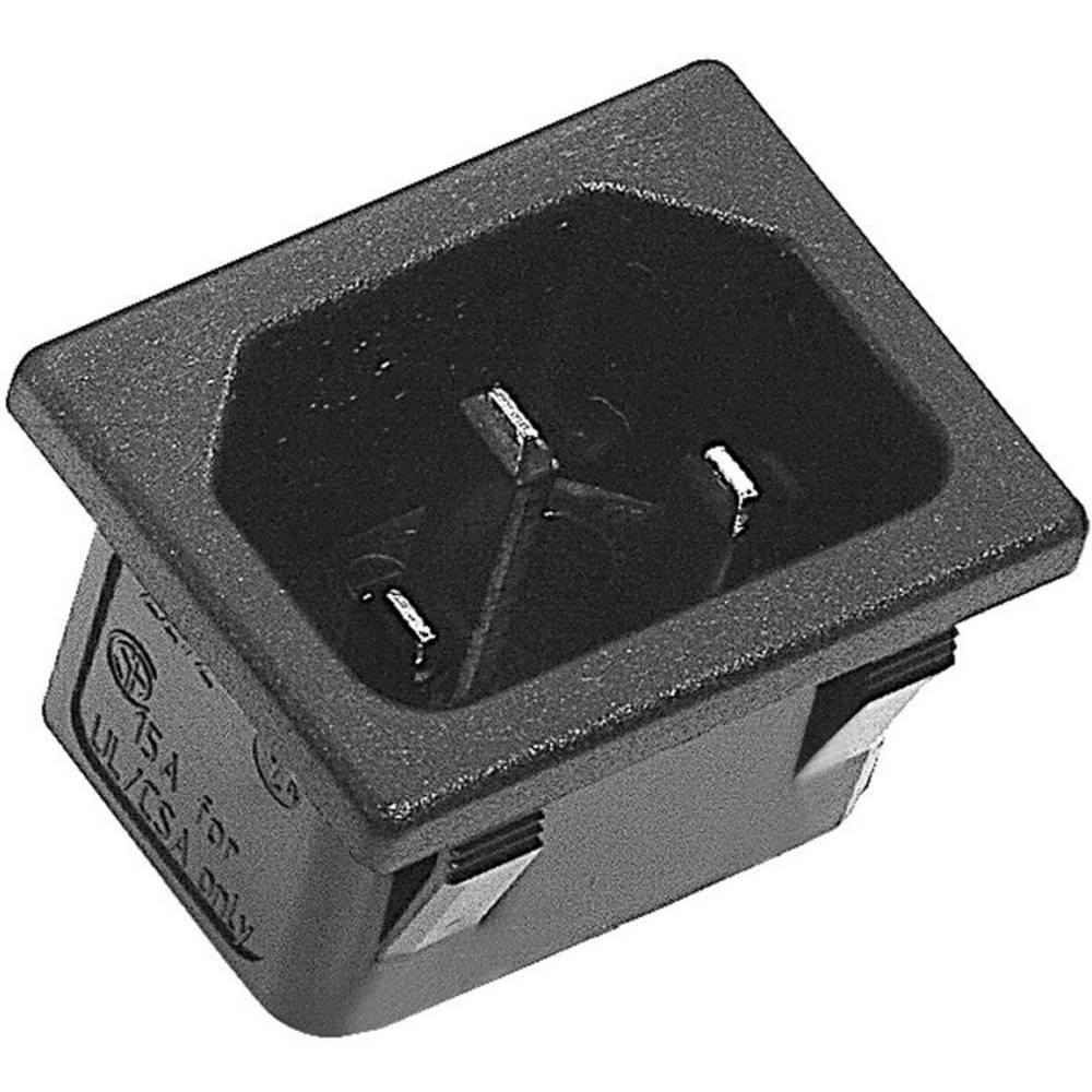 IEC-stik C14 Serie (netstik) 42R Stik, indbygning lodret Samlet poltal: 2 + PE 10 A Sort K & B 42R023212150 1 stk