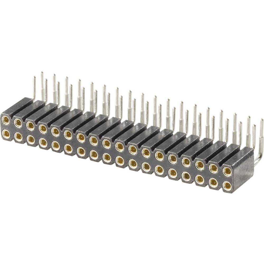 W & P Products 154-020-2-50-10 Precision Socket Terminal Strip, Pitch 2.54 Grid pitch: 2.54 mm Number of pins: 2 x 10 Nominal cu