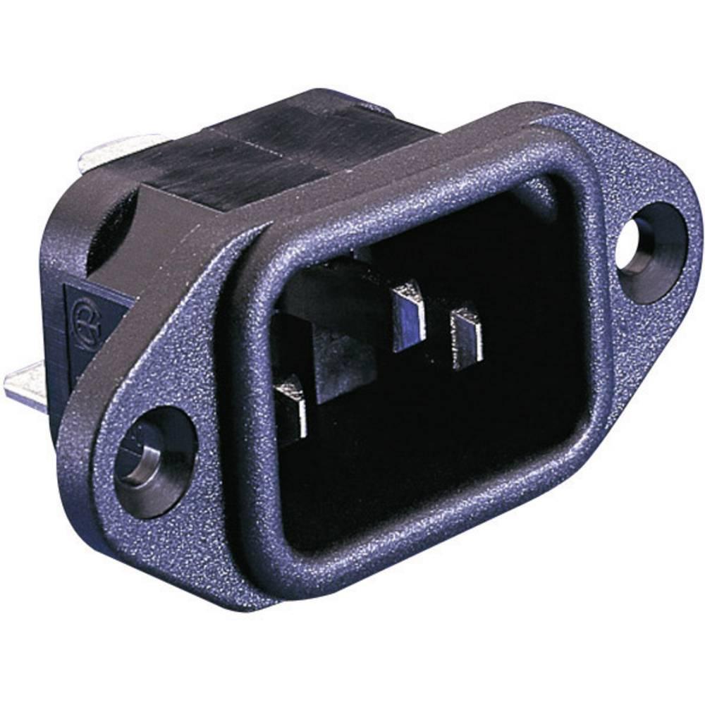 IEC-stik C14 Serie (netstik) PX Stik, indbygning lodret Samlet poltal: 2 + PE 10 A Sort Bulgin PX0580/63 1 stk