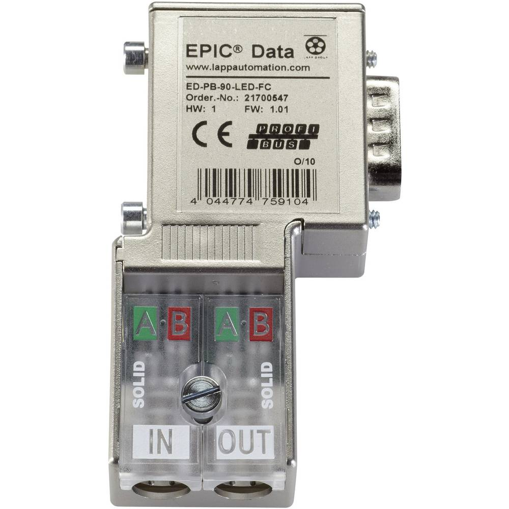 Konektor EpicR Data Profibus s hitrim priključkom vtič, raven - ED-PB-90-PG-LED-FC LappKa 21700547