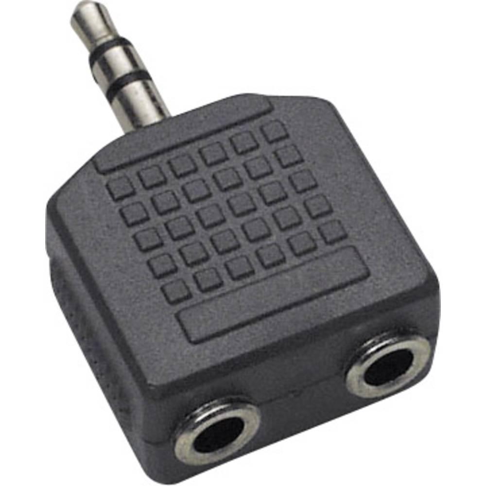 Klinken audio Y-adapter [1x klinken vtič 3.5 mm - 2x klinken vtičnica 3.5 mm] črne barve BKL Electronic
