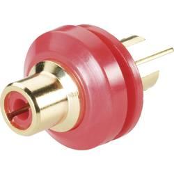 Cinch konektor, vgradna vtičnica, navpična namestitev, št. polov: 2 rdeče barve BKL Electronic 0101148/T 1 kos