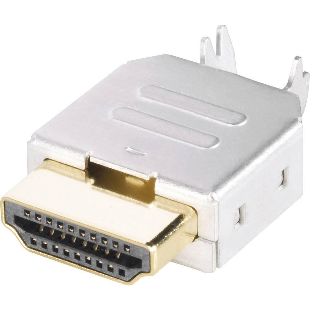 BKL Electronic 905004-Konektor HDMI, moški, število polov za horizontalno vgradnjo: 19, srebrn, 1 kos