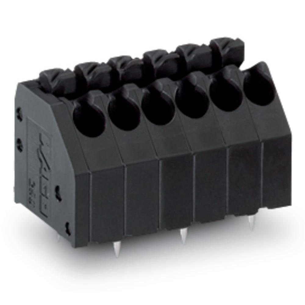 Fjederkraftsklemmeblok WAGO 1.50 mm² Poltal 6 Sort 200 stk