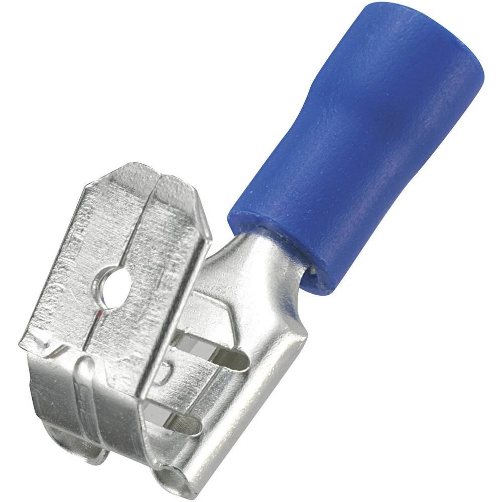 Kućište plosnatog utikača s ogrankom 93014c213 Conrad širina: 6.4 mm debljina: 0.8 mm 180 ° djelomično izolirano, plava 50 komad