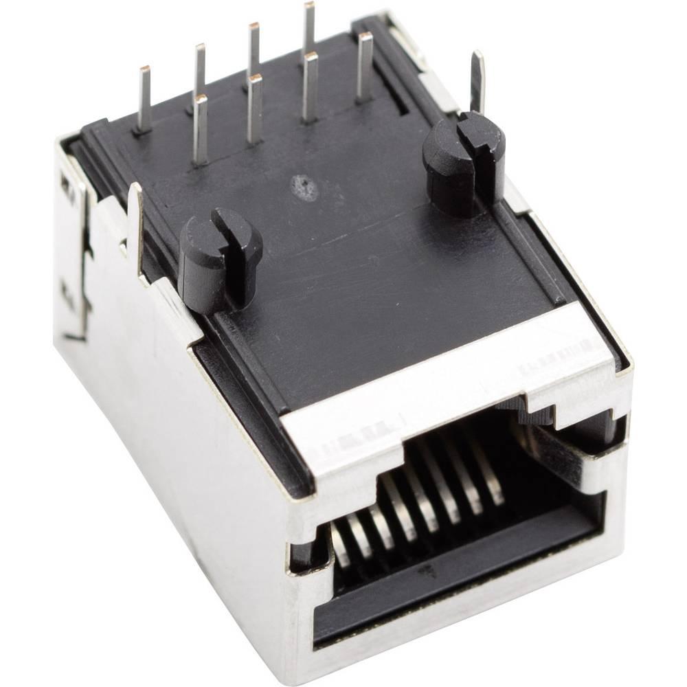 Modularna vgradna vtičnica brez zaščite vtičnica, vgradna, horizontalna, polov: 8P8C SS64800-031F ponikljan, kovinska BEL Stewar