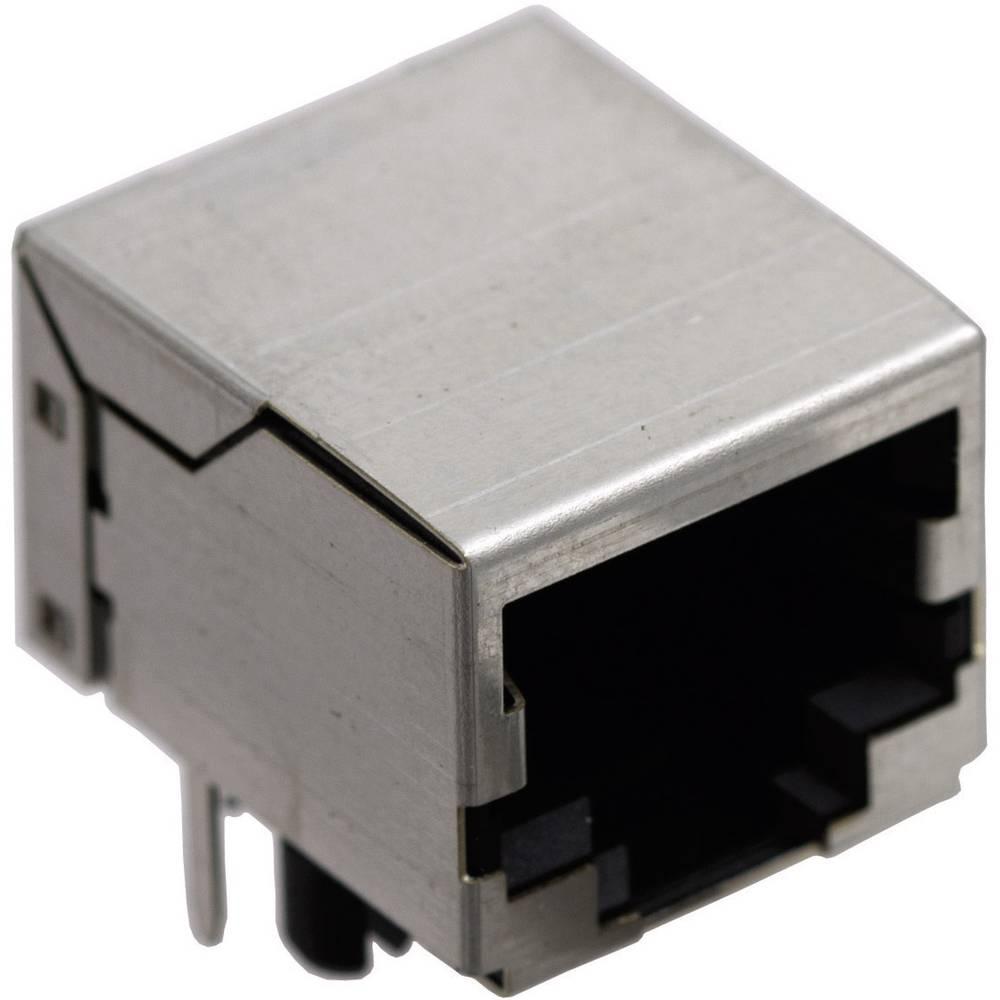 Modularna vgradna vtičnica brez zaščite vtičnica, vgradna, horizontalna, polov: 10P8C SS64100-014F ponikljan, kovinska BEL Stewa