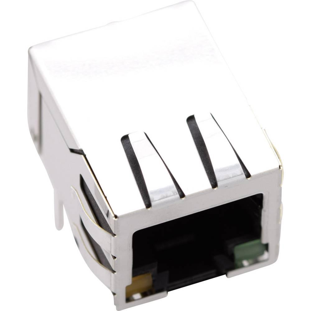 Modularna vgradna vtičnica brez zaščite vtičnica, kotna, polov: 8P8C 1421-2000-02 ponikljan, kovinska BEL Stewart Connectors 142