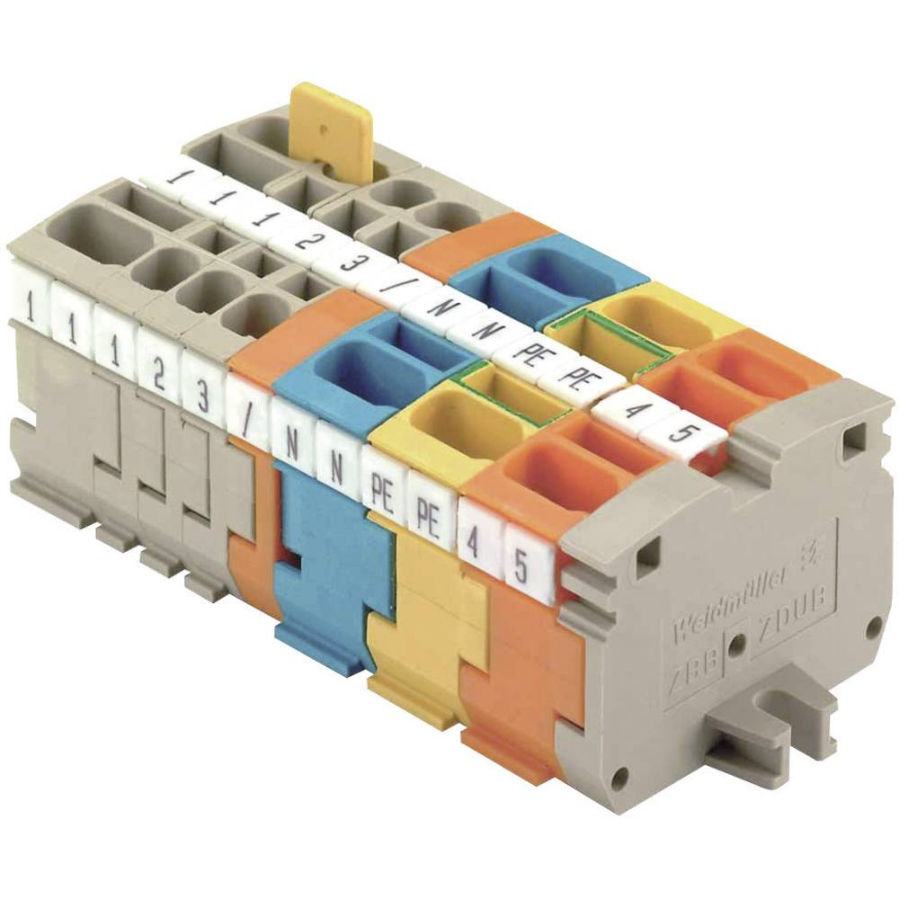Mini - DIN-skinne rækkeklemmer ZDUB Weidmüller ZDUB 2.5-2/2AN/DM GE 1704380000 Grøn-gul 1 stk