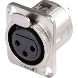Hicon HI-X3DF-Konektor XLR s prirobnico D, ženski, število polov z ravnimi kontakti: 3, srebrn/črn, 1 kos