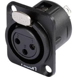 Hicon HI-X3DF-M-Konektor XLR s prirobnico D, ženski, število polov z ravnimi kontakti: 3, črn, 1 kos