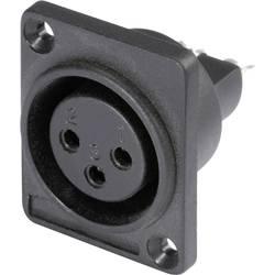 Hicon HI-X3DF-P-Konektor XLR s prirobnico D, ženski, število polov z ravnimi kontakti: 3, črn, 1 kos