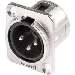 Hicon HI-X3DM-Konektor XLR s prirobnico, moški, število polov z ravnimi kontakti: 3, srebrn, črn, 1 kos