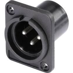 Hicon HI-X3DM-P-Konektor XLR s prirobnico, moški, število polov z ravnimi kontakti: 3, črn, 1 kos