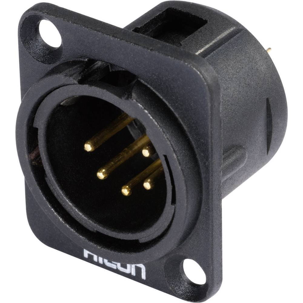 XLR Vgradni vtični konektor, D-prirobnica, kovinsko ohišje,št. polov: 5 HI-X5DM-G Hicon..