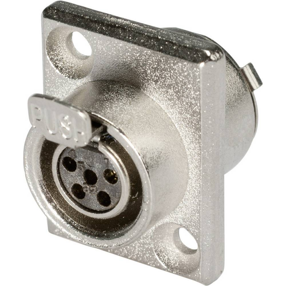 Mini-XLR Vgradni vtični konektor, kovinsko ohišje, ponikljan, št. polov: 5 HI-XMEF5 Hico.. Hicon