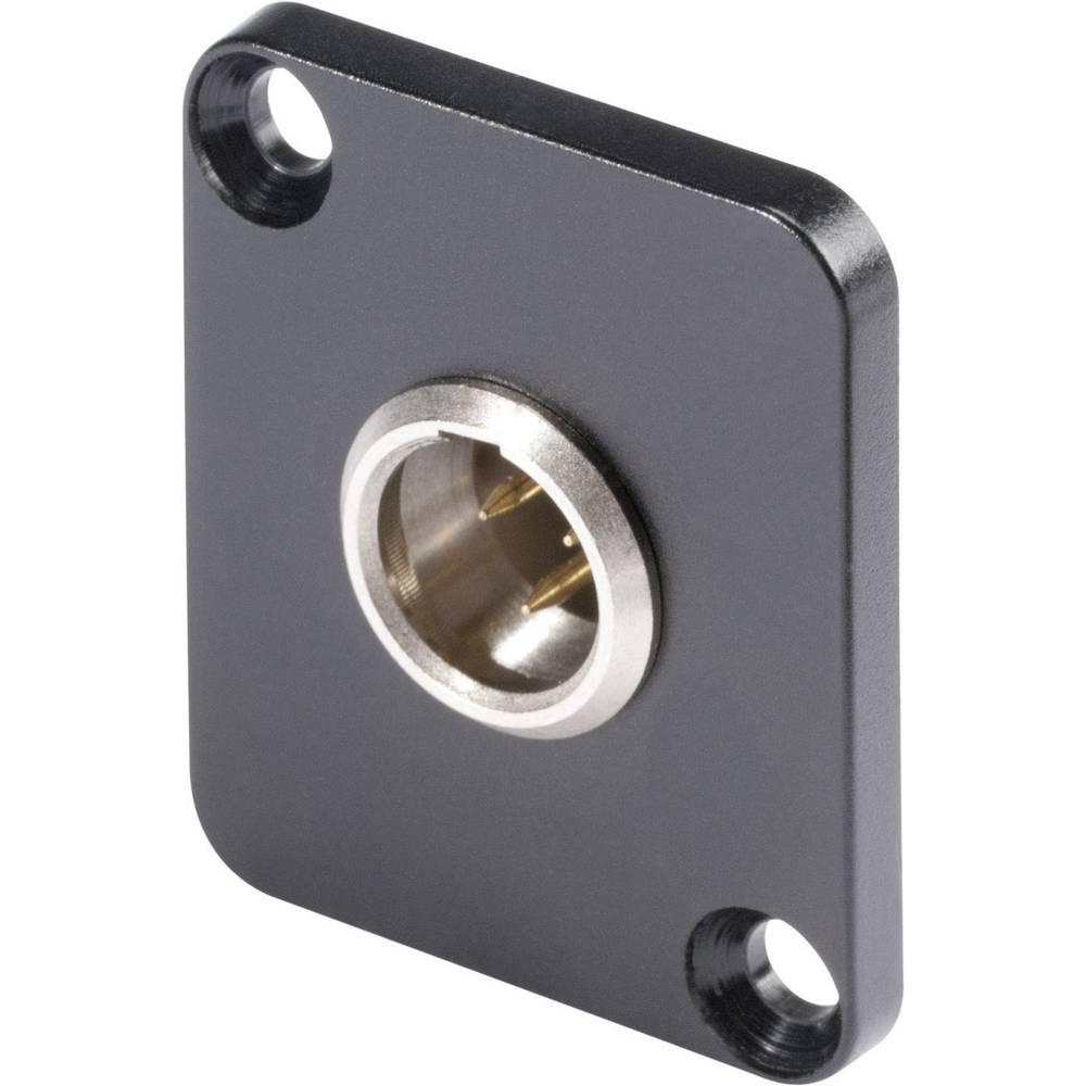 Mini-XLR Vgradni vtični konektor, kovinsko ohišje, ponikljan, univerzalni, D-prirobnica,.. HI-XMDM3 Hicon