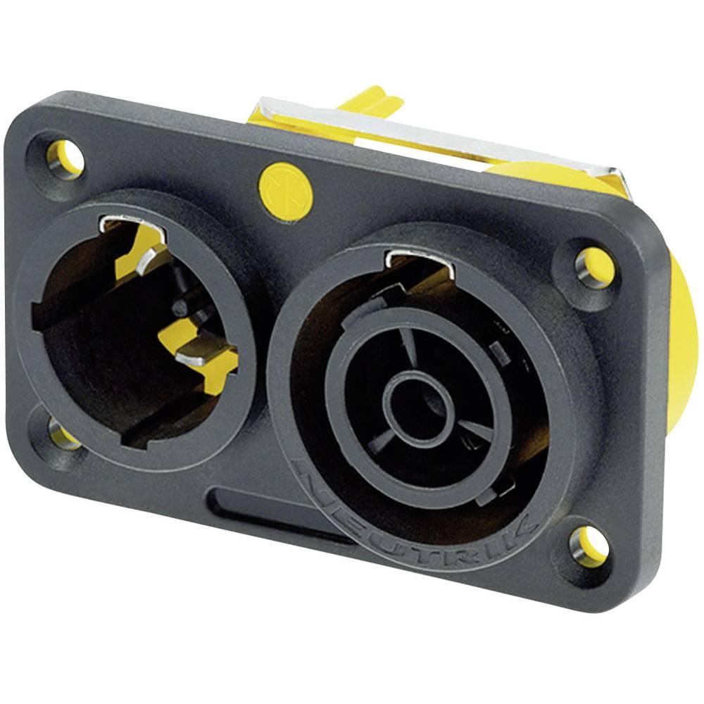Strømstik Serie (netstik) powerCON Stik, indbygning lodret, Tilslutning, indbygning lodret Samlet poltal: 2 + PE 16 A Sort Neutr
