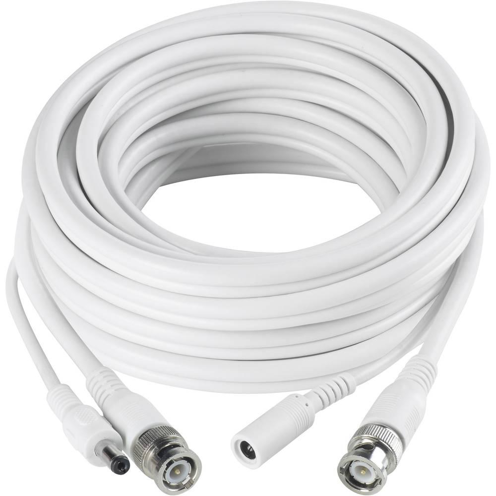Kombinirani video kabel Sygonix 43127X, 40 m, bel, 1x BNC, 1x DC IN -1x BNC, 1x DC OUT