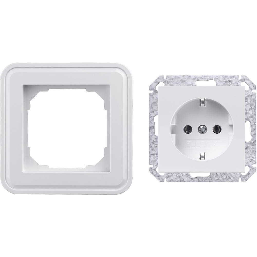 Vtičnica za varnostnim kontaktom Sygonix SX.11, sijoče bele barve, 33596X + 33598R