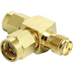 WLAN-antena - Y-Adapter, prilagodnik [2x SMA-priključak - 1x SMA-utičnica] 0 m zlatni Delock 88710