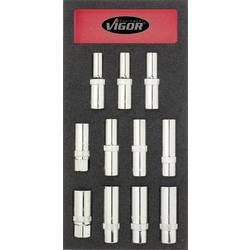 Udvendig sekskant Tændrørsnøgle-sæt 11 dele 1/2 (12,5 mm) Vigor V1658