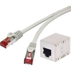 RJ45 mrežni produžni kabel CAT 6 S/FTP 30 m sivi, zaštita na priključku, pozlaćeni kontakti Renkforce