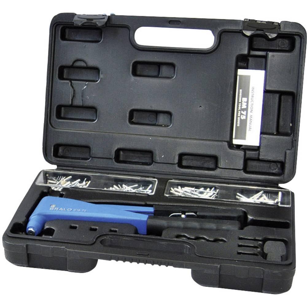 Bralo BM-75 kliješta za slijepe zakovice s metalnim koferom i asortimanom slijepih zakovica aluminij/čelik 265 mm