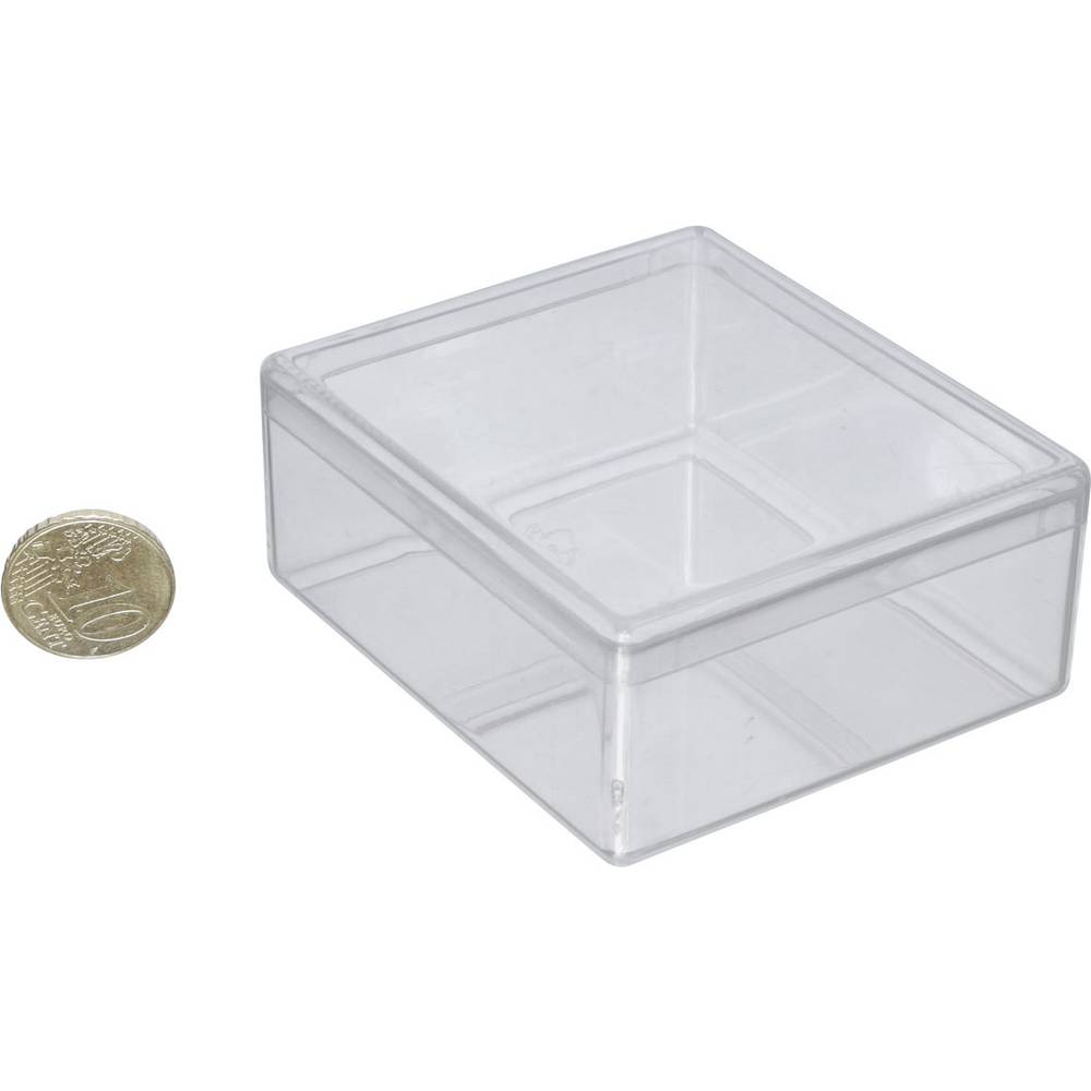 Single Compartment Organiser Box, Component Storage Box, Transparent (68 x 60 x 26 mm)