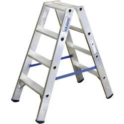 Dvojna aluminijasta lestev, delovna višina (maks.): 2.45 m Krause dvojna aluminijasta lestev (ALU), 2X4 STU 124722 srebrne barve