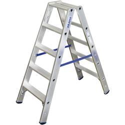 Dvojna aluminijasta lestev, delovna višina (maks.): 2.70 m Krause dvojna aluminijasta lestev (ALU), 2X5STUF 124739 srebrne barve