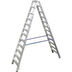 Dvojna aluminijasta lestev, delovna višina (maks.): 4.35 m Krause dvojna aluminijasta lestev (ALU), 2X12 ST 124784 srebrne barve