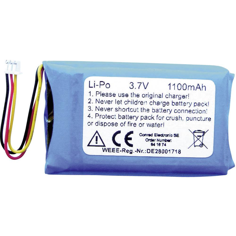 Nadomestna LiPo akumulatorska baterija, 1100 mAh (D x Š x V) 50 x 32 x 6.3 mm 1Z-101-16