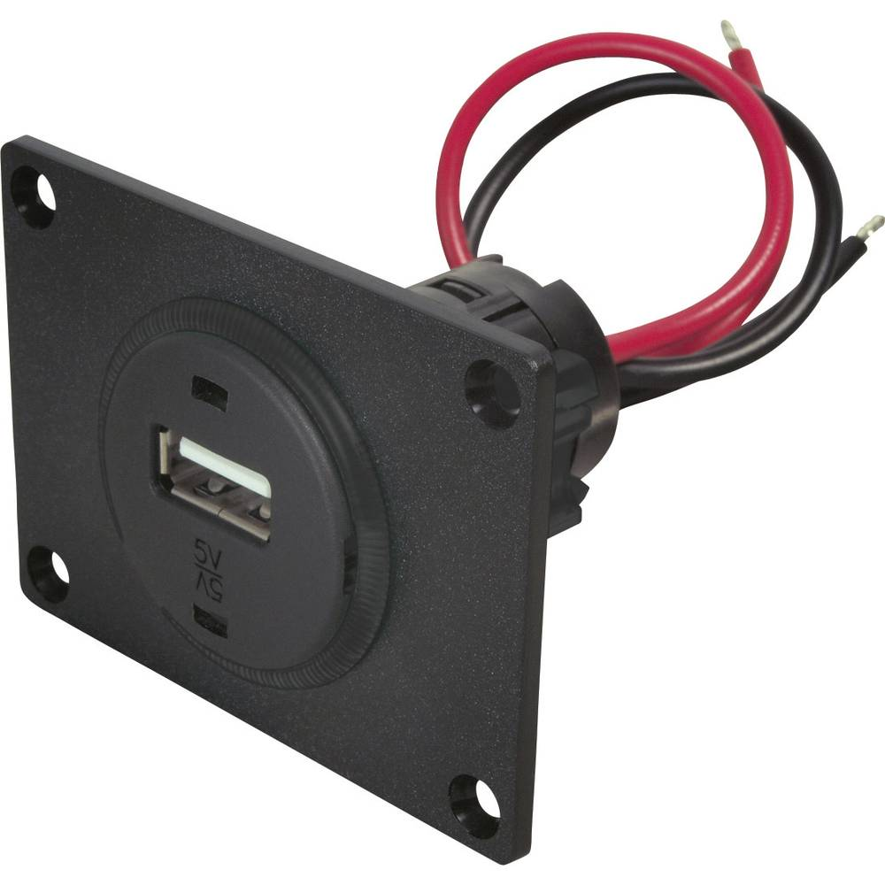 Stikdåse ProCar USB Einbausteckdose mit Platte 12 V til 5 V 1 A Kabel afisoleret