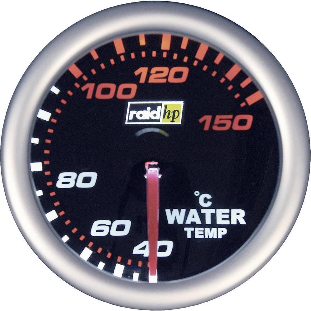 Bil indbygningsinstrument Vandtemperatur-visning måleområde 40 - 150 °C raid hp 660244 NightFlight Hvid, Rød 52 mm