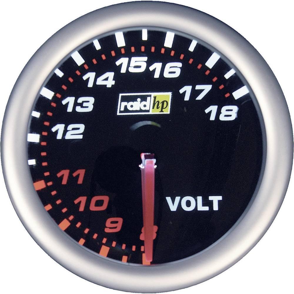 Bil indbygningsinstrument Voltmeter måleområde 8 - 18 V raid hp 660245 NightFlight Hvid, Rød 52 mm